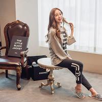 Al por mayor-Plus Size Nuevo 2016 Winter Cotton Women Pajama Set ropa de dormir Inicio camisón pijama O cuello de manga larga pijama Femme Mujer