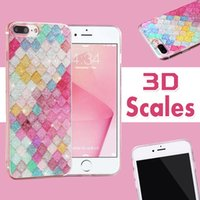 Básculas de color arco iris 3D Escama Squama Bling Brillo Brillante brillante TPU Funda de silicona para iPhone XS Max XR X 8 Plus 7 6 6S 5 5S