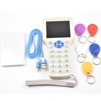 Aktualisierte version Englisch 10 frequenz RFID Kopierer ID / IC Reader Writer + 5 stücke 13,56 mhz UID Beschreibbare Schlüssel + 5 stücke 125 khz T5577 Keyfobs
