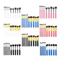 15 renkler pro Pudra Fondöten makyaj fırça Araçları 10 adet / takım Kadınlar için Profesyonel Kabuki Kozmetik Makyaj Fırçalar set kiti