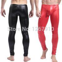 Toptan-Yeni Kırmızı Siyah Erkekler Parlak Stretch Sahte Deri Seksi Pantolon, Seksi Yenilik Skinny Muscle Tayt Erkek Düşük Bel Tozluklar