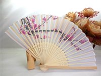 DHL Free Shipping 100pcs lot cherry blossom silk hand fan we...