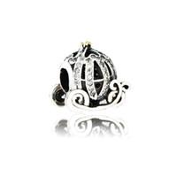 Diy Fit Pandora Bracelet Authentique 925 Argent Sterling Cendrillon Chariot Chariot De Charme Perle Avec CZ Clair Pour La Fabrication de Bijoux