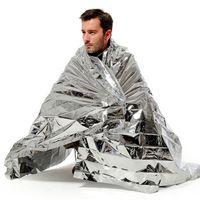 Senderismo Camping Suministros Plateado Mylar Impermeable Rescate de emergencia Espacio Lámina Manta térmica Almohadillas para exteriores PET 10 PCS