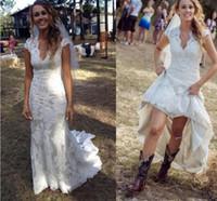 2018 Vintage Country Brautkleider V-Ausschnitt Cap Sleeves Bodenlangen Spitze Brautkleider Cowgirls High Low Backless Brautkleider