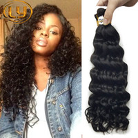 7a Brazilian Bulk Wave Deep Curly Wave 3 paquetes Soft Bulk hair Extensiones de ondas de cabello brasileñas Deep Curly Bulk Compre 3Lot Get Free 1 pcs