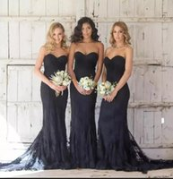 Elegante 2018 Dark Navy Lace Mermaid abiti da damigella d'onore Sweetheart Sweep treno Maid of Honor Dress Backless Prom Party Gowns Wedding Party