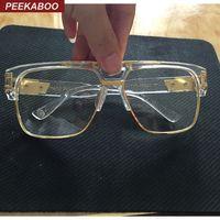 Peekaboo Nouvelle mode oversized or clair monture lunettes carrés montures de marque de haute qualité pour lunettes de vue mâle femme grand