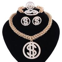 Cadena del dinero de dólar NecklacePendant color oro de plata para las mujeres / de los hombres del Rhinestone Hip Hop Bling del anillo del pendiente de la pulsera La joyería