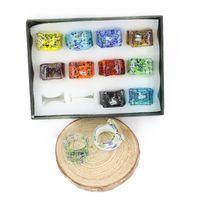 Murano Glas Ring 12 teile / satz Für Halskette Diy Lampwork Glas Ring Günstige Groß Großhandel Für Schmuck Machen Diy Lampwork MC1004