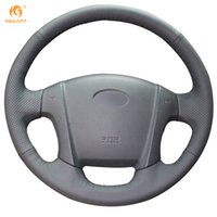 DIY Mewant Black Genuine Leather Car Steering Wheel Cover fo...