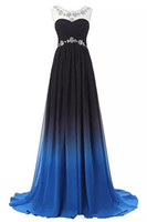 2018 New Elegant A- Line Long Prom Dresses With Beads Floor- L...