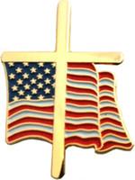 미국 국기 크로스 옷깃 핀