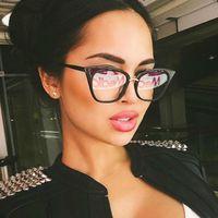 Rivet Cat Eye Verres transparentes Clear Lunettes de mode Faux Verres d'oeil optiques Cadres pour femmes Myopie Verre Spectacles Femmes lunettes