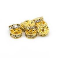 Fazer Jóias Banhado A Ouro de Cobre Rondelle Spacer Beads Cristal Claro Rhinesetone 6mm 8mm 10mm 12mm, 100 pçs / saco, IA01-02