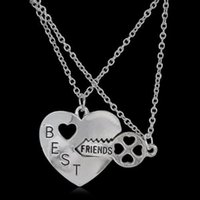 Best Friends Friendship Heart Key Silver Necklace Pendant Couple BFF Alloy Necklace Jewelry Pendant Necklaces Fashion Womens Chain Jewelry