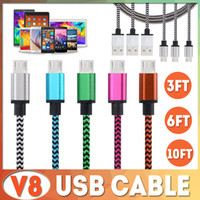 1M 2M 3M TYPE C Micro USB Cable Nylon Colorful Braided V8 Da...