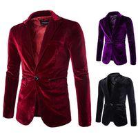 Blazer костюмы пальто вельветы людей Бесплатная доставка One Button Patch PU карманный дизайн с длинным рукавом Turn Down Collar Brief Fashion Mens Dress Blazer