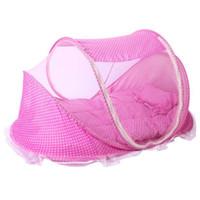 New Baby Cribs 0-2 Anos Cama De Bebê Com Travesseiro Mat Set Dobrável Portátil Berço Com Netting Algodão Recém-nascido Sono Cama de Viagem