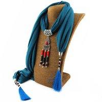 Mode féminine infinity foulards pendentif gland foulard bijoux nouveau design collier foulards pour femmes