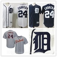 100% cousu Detroit Tigers 24 Miguel Cabrera Maillots de Baseball MLB Men's Broderie Majestic Navy Alternate Cool Base Player Jersey