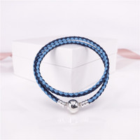 Authentic 925 Sterling Silver Moments Double Woven Leather B...