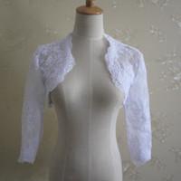 Новый белый свадебный пиджак с 3/4 рукавами Кружевная свадебная куртка для невесты Свадебные накидки-болеро на свадьбу 2019