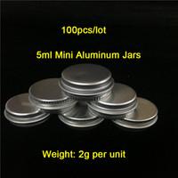 A buon mercato 100 pezzi / lotto 5 g / ml Peso: 2 g alluminio vasetti contenitori di cera di alluminio contenitori di fumo in vendita spedizione gratuita in tutto il mondo