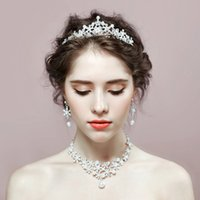 New korean style rhinestone crystal bride jewelry sets crown...