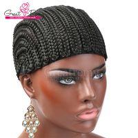 Greatremy New Arrival Braided 가발 모자 흑인 여성을위한 꼰 직조 모자를 착용하기 쉽습니다.
