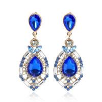 Pendientes para mujer Joyas baratas Diamante Swarovski Crystal Stud Accesorios de boda Pendientes nupciales de moda Rhinestone Verde Azul Rojo