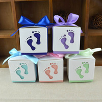 Baby Shower Souvenir Box Cute Baby Footprints Candy Box Battesimo Bomboniere Scatole Festa di compleanno per gli ospiti