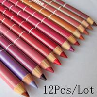 Venta al por mayor- 12Pcs / LotHot Fashion Women's Lipliner Lip Lip Liner impermeable 15 CM 12 colores por juego