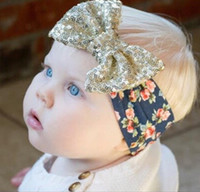 Neonate Fasce con Big Paillette Bow New Kids Natale Floral Head Band Paillettes Bowknot Bambini Bowknot Accessori per capelli KHA107