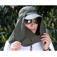 Toptan-Kadın Güneş Şapka Unisex Açık Eğlence Güneş Balıkçılık Yürüyüş Şapka UV Koruma Yüz Boyun Flap Rahat Güneş Kap