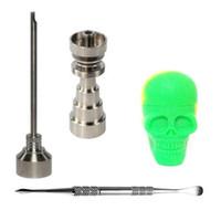 Venta al por mayor 10 mm 14 mm 18 mm Ajustable Gr2 Titanio Nail Bong Tool Set con Carb Cap Dabber Tool 15 ml Forma de cráneo Slicone Jar Dab Container