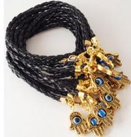 Encantos Cábala oro 50pcs de la vendimia de Hamsa Mano Mixta Hilo Rojo Manguito buena suerte piel tejida de brazaletes de las pulseras de la joyería Accesorios N1922