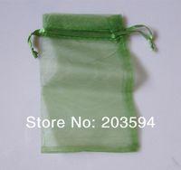 500 pezzi / lotti sacchetti di organza estraibili di imballaggio di gioielli di colore verde scuro 7x9 cm, sacchetti di sacchetti regalo di nozze
