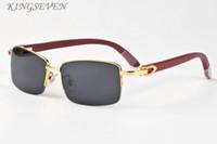 2020 패션 스포츠 물소 뿔 여성 검은 색 갈색 투명한 렌즈 컬러 하프 프레임 운전 선글라스 남성 복고풍 나무 선글라스 안경