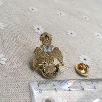 10pcs / lot maçonnerie Freemasonic épinglette en or plaqué qualité Deus Meumque cogens 33ème Couronne hibou maçonniques et Brooches Pins Badge H014