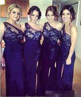 رسمي طويل حفل زفاف فساتين مخصص اللباس الملكي الأزرق وصيفه الشرف مع يزين الجانب الشق الشيفون واحد الكتف اللباس bridemaid