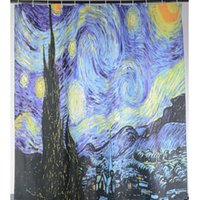 Al por mayor- Van Gogh The Starry Night Printed Star Sky cortinas de ducha tela de poliéster impermeable Cortina de baño con 12 ganchos 180x180cm