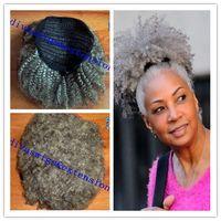 Cheveux gris queue de cheval naturel bouffée afro queue de cheval cheveux extension clip Remy afro kinky bouclés cordon de serrage queues de cheval gris cheveux pièce
