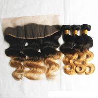 Ombre Menschenhaar-Verlängerungen Jungfrau peruanisches Drei-Ton-Braun Blond 1B 4 27 # Ombre Haar-Webart Bündel mit einem Ohr zum anderen Lace Frontal