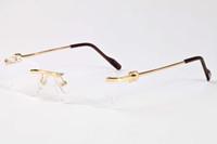 2021 New Men Plain Mirror Glasses Rimless Clear Brown Lenses Metal Alloy Legs Frame Buffalo Horn Eyewear Sunglasses Oculos Lunette De S Hwbv