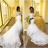 돌아 가기 오프 - 더 - 어깨 분 소매 레이스 웨딩 드레스 2019 새로운 W650을 통해 아랍어 아프리카 인어 웨딩 드레스 플러스 사이즈 코트 기차 참조