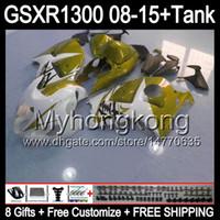 8gifts Para SUZUKI Hayabusa GSXR1300 08 15 GSXR-1300 brilho dourado 14MY48 GSXR 1300 GSX R1300 08 09 10 11 12 13 14 15 branco dourado Carenagem Kit