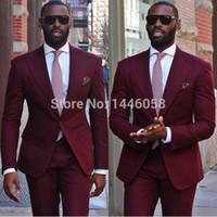 Al por mayor de alta calidad 2017 Ropa formal Trajes de boda Borgoña trajes para hombre esmoquin para los hombres del novio mejor hombre por encargo (Jacket + Pants + tie)