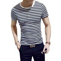Al por mayor- Nueva 2017 Hombres camiseta de algodón de manga corta con cuello en V Tops de hombre de la manera Tee Slim Fit blanco y negro con rayas CAMISETAS Plus Size Tops