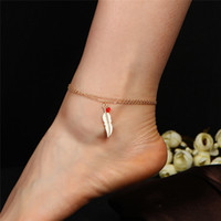 Double Layer Gold Plated Chains Anklet for Women Beads Feath...